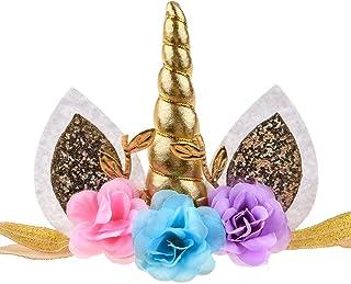 Floral Fall Baby Girls Unicorn Horn Birthday Headband Photo Props Outfit Squishy Cheeks DJ-18