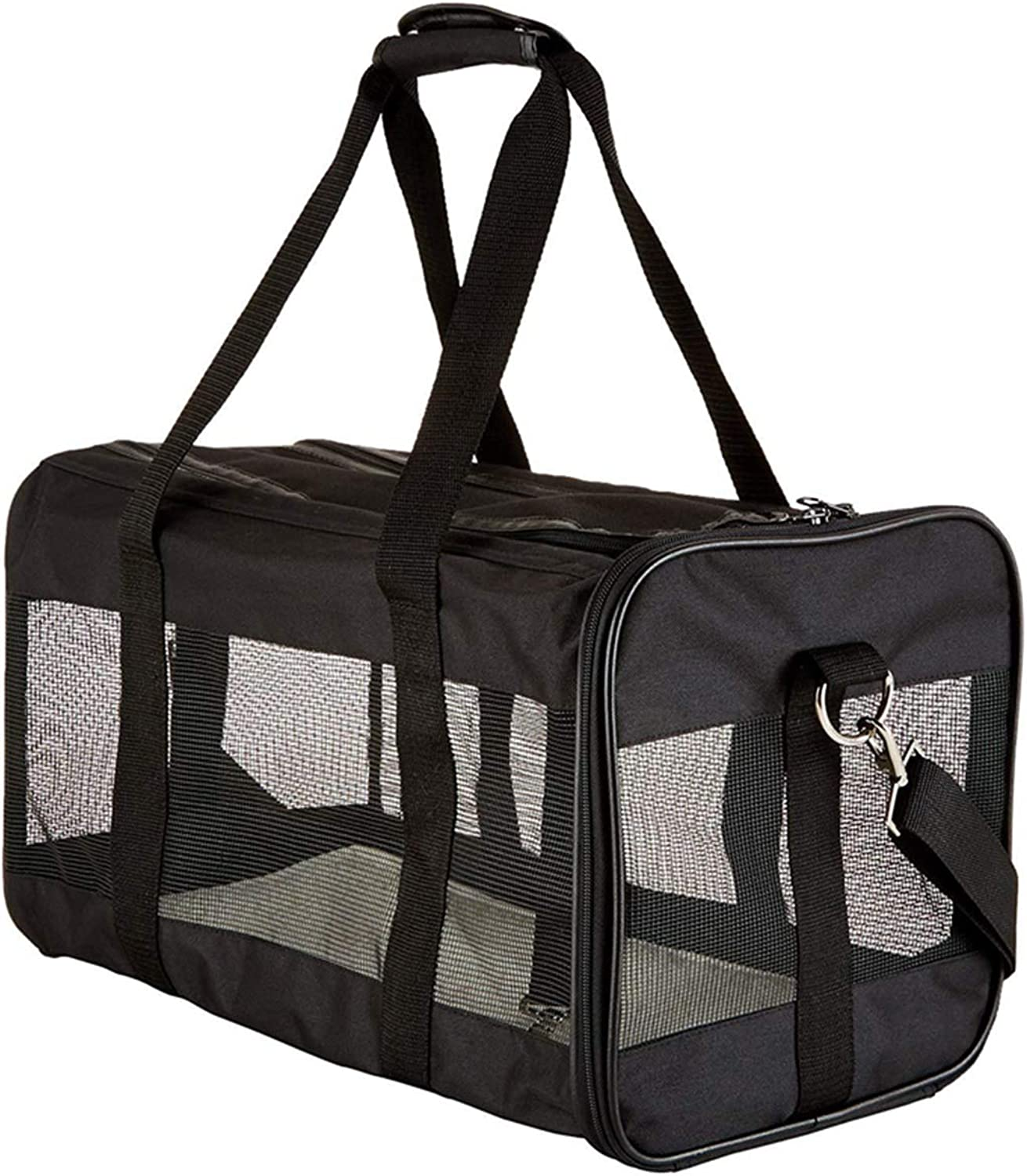 Lightweight Pet Carrier Crate,Shoulder Travel Bag Outdoor Pouch Mesh Shoulder Carry Bag Tote Handbag,Black,43  24  26cm