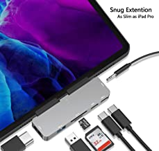 USB C Hub for iPad Pro,7-in-1 Adapter for iPad Pro 2018 2020 12.9/11 inch,with 3.5mm&Type-C Earphone Headphone Jack with Volume Control,4K HDMI,USB-C PD Charging,SD/Micro Card Reader,USB 3.0