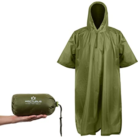 Chill Gorilla Hooded Rain Poncho Reusable Rain Gear for All Outdoor Activities. Lightweight Multi-Use Waterproof Emergency Military Raincoat for Adult Men /& Women