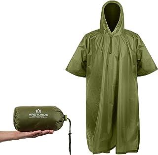 Lightweight Ripstop Nylon Rain Poncho with Adjustable Hood