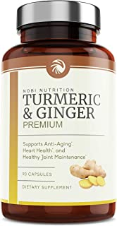 Nobi Nutrition Turmeric Curcumin with Ginger and BioPerine - Back Pain Relief, Joint Support and Anti Inflammatory - Taste...