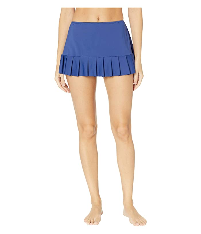 24th & Ocean Solids Mid Waist Pleated Skirt Bottoms (Navy) Women