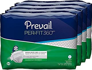 Prevail Per-Fit 360 Degree Maximum Plus Absorbency Incontinence Briefs Size 2 72 Count Breathable Rapid Absorption Discreet Comfort Fit Adult Diapers