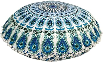 Stylo Culture Indian Round Throw Pillows for Bedroom Indian Mandala Floor Pillow Printed Floor Cushion Cover Blue Large 32...