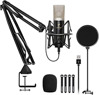 Condenser Microphone, TONOR USB Cardioid Computer Mic Kit with 24mm Diaphragm/Upgraded Boom Arm/Spider Shock Mount for Streaming, Recording, Gaming, Podcasting, Voice Over, YouTube, TC-2030
