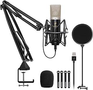 Micrófono de Condensador, TONOR USB Cardioide Micro con Diafragma de 24mm Streaming, Grabación, Gaming, Podcasts, Voz, YouTube