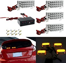 Kyson 4x 12V 22LED Amber High Intensity LED Law Enforcement Emergency Hazard Warning Strobe Lamp with Mounting Bracket Con...