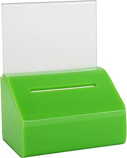 MCB Acrylic Donation & Ballot Box, Ticket Raffles & Drawing, Voting or Comment Box - with Safety Lock and Display Sign Hol...