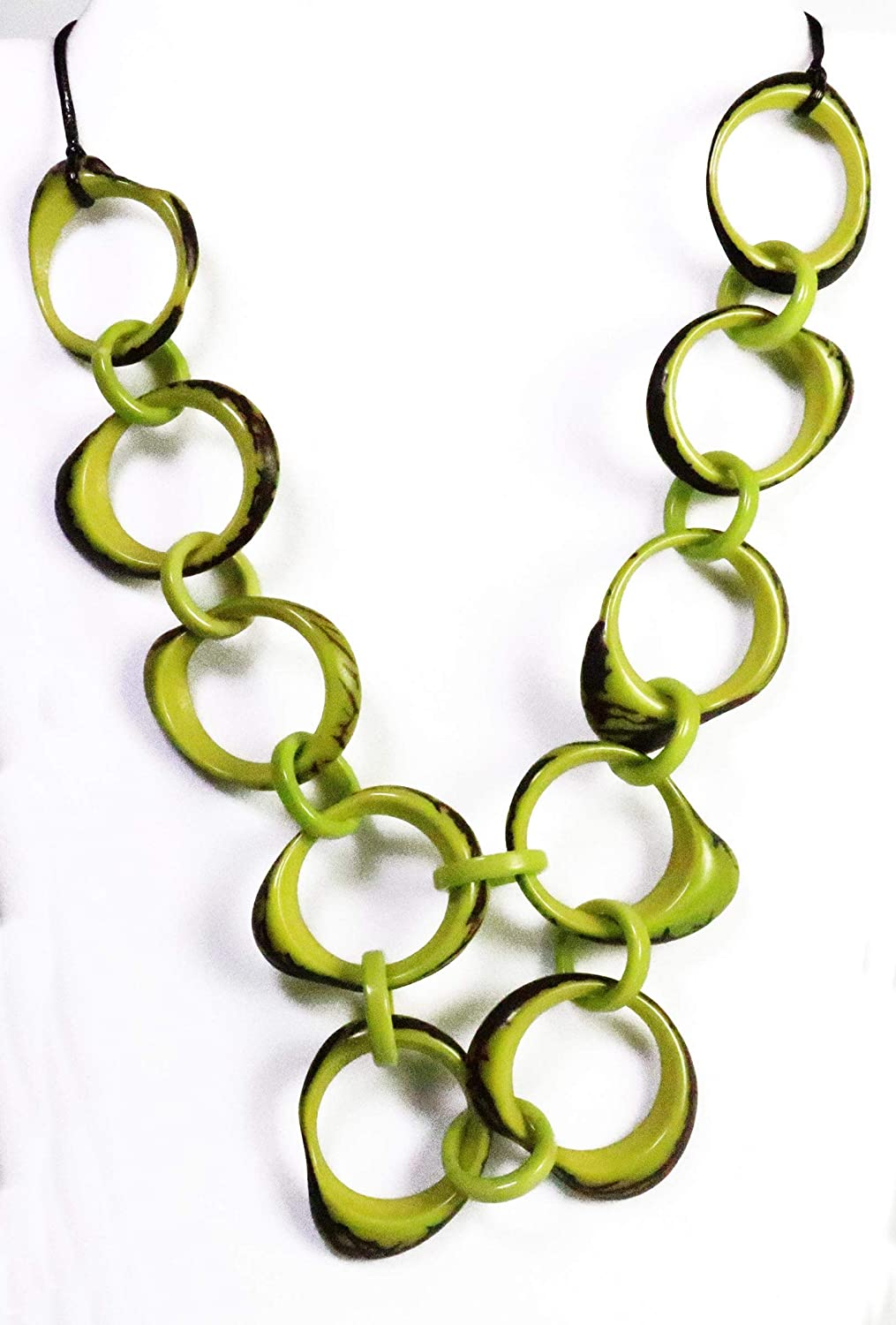 Lime Organic TAGUA Bib Necklace Mo Chained Mid-Century Outlet sale feature - Strand lowest price
