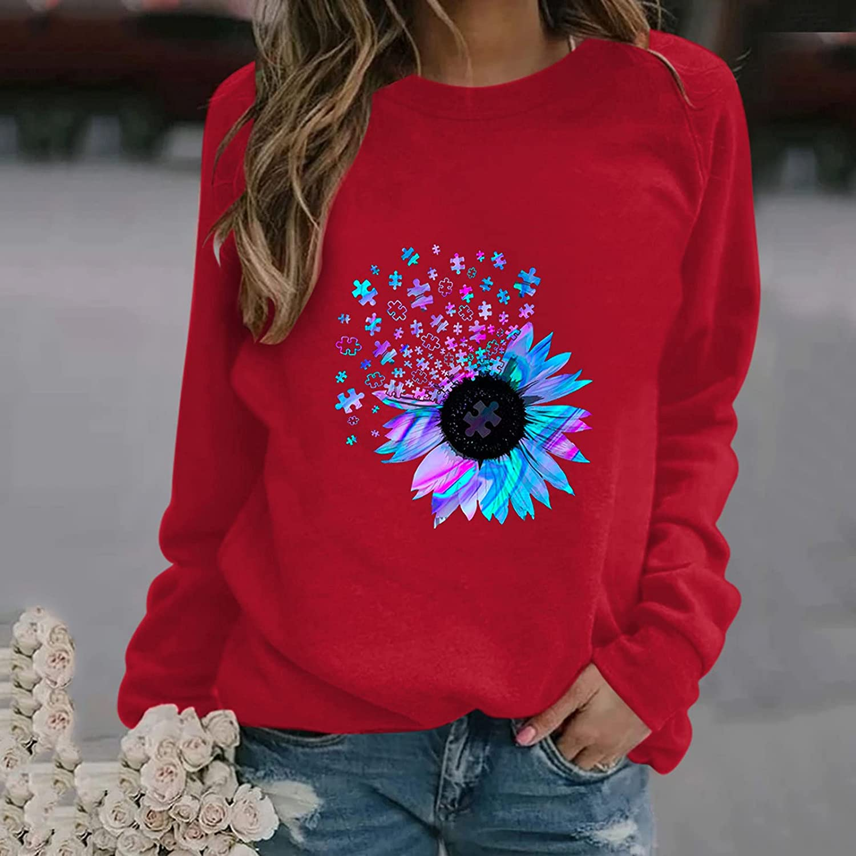 FABIURT Womens Tops,Women Tunic Sweatshirts Long Sleeve Loose Comfy Crewneck Pullover Tops Simple Novelty Causal Shirt