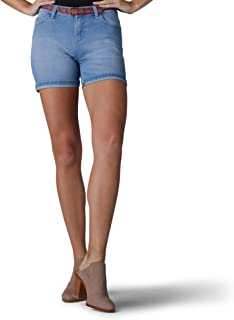 سروال قصير بحزام للخصر من سلسلة حديثة للنساء من ليلي، لون سماوي شفاف، 16