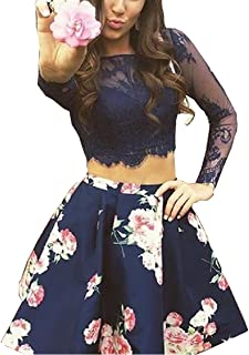 Women's Bodice Homecoming 2 pc Floral Print Prom Party Dress Long Sleeves