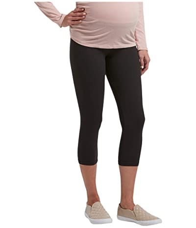 HUE Under Belly Soft Knit Maternity Capris (Black Space Dye) Women