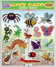 Busy Bugs and Insects Thick Detailed Gel Clings – Reusable Glass Window Clings for Kids - Incredible Gel Decals of Ants, Caterpillar, Bees, Fly, Beetle, Butterfly Home, Airplane, Classroom, Nursery