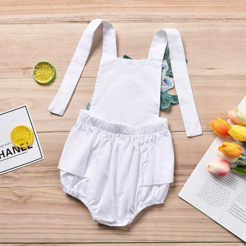 Womola Newborn Infant Baby Girls Summer Clothes Overalls Flower Embroidered Romper Straps Backless Halter Jumpsuit