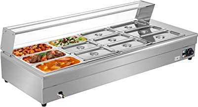 VEVOR Bain Marie 1/3 Pan, Chauffe Plat 7 L, Plat-réchaud 12 casseroles, Parfait pour Conserver de délicieux Aliments à la ...