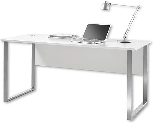 Stella Trading OFFICE LUX Schreibtisch inkl. Kabeldurchführung, grau – Bürotisch Computertisch mit großer Arbeitsfläche – Modernes Büromöbel…