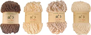 BambooMN Chunky Fluffy Faux Fur Eyelash Yarn - 100% Polyester - 100g/Skein - 4 Skeins - Shades of Brown Color Pallete