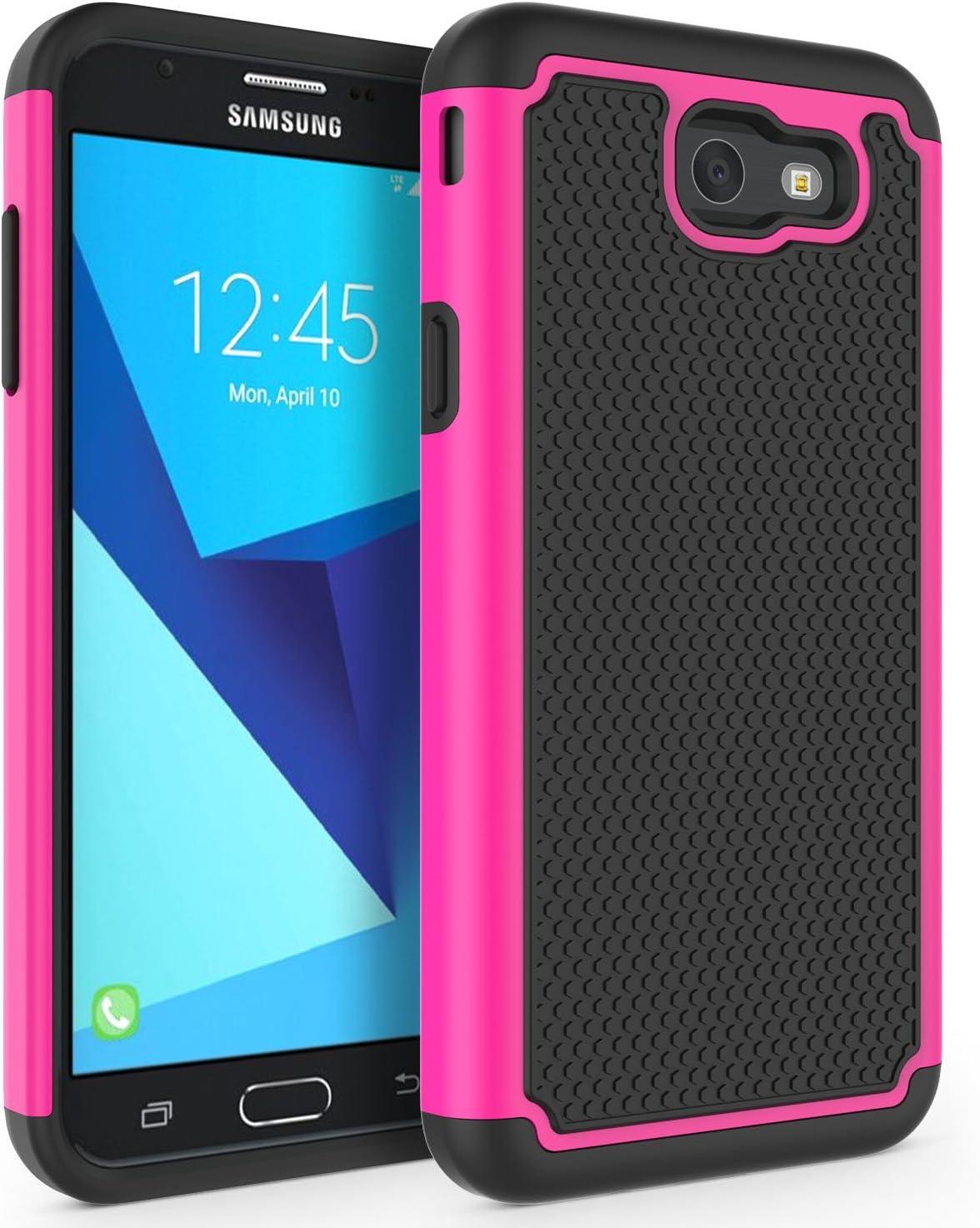 SYONER Shockproof Phone Case Cover for Samsung Galaxy J7 V 2017 (1st Gen)/ Galaxy J7 2017 / Galaxy J7 Prime/Galaxy J7 Perx/Galaxy J7 Sky Pro/Galaxy Halo [Hot Pink]