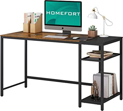 HOMEFORT Computer Desk, Home Office Desk with 3 Storage Shelves, Industrial Study Writing Table, Modern Wood PC Desk for Home, Office, Bedroom, Study Room (Rustic Brown)