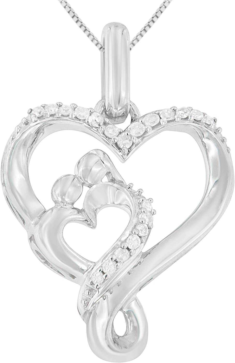 .925 Sterling Silver 1 Topics on TV 10 Outlet SALE Cttw Mother Ope Double Diamond Child