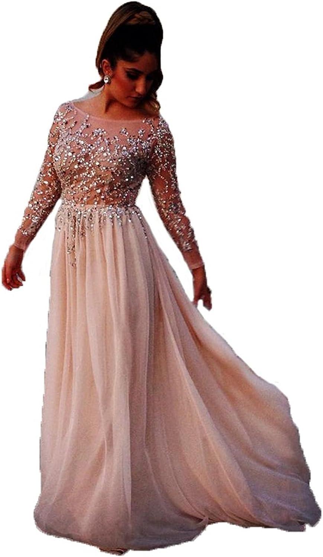 Ellystar Women's ALine Jewel with Long Sleeves Sequins Hollow Formal Dresses