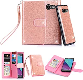 TabPow Galaxy J3 Emerge Case, 10 Card Slot - [ID Slot] Wallet Folio PU Leather Case Cover with Detachable Magnetic Hard Case for Galaxy J3 Luna Pro/Galaxy J3 Emerge/Amp Prime 2 - Glitter Rose Gold