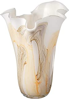 Anna's Exclusive Decor Large Handmade Handkerchief Glass Vase 13.4″ - White Brown Yellow - Mouth Blown Glass Decorative Art Ruffle Vase Centerpiece - Gift Box -13.4 in (34 cm)
