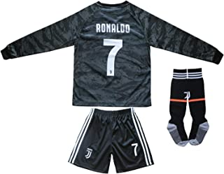 seryhr-tx Ronaldo 7 Juventus Away Kids Long Sleeve Soccer Jersey 2019/2020 Season.Matching Shorts,Socks. Black