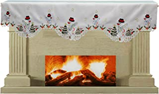 Creative Linens Holiday Embroidered Snowman and Christmas Tree Mantel Scarf 19x70