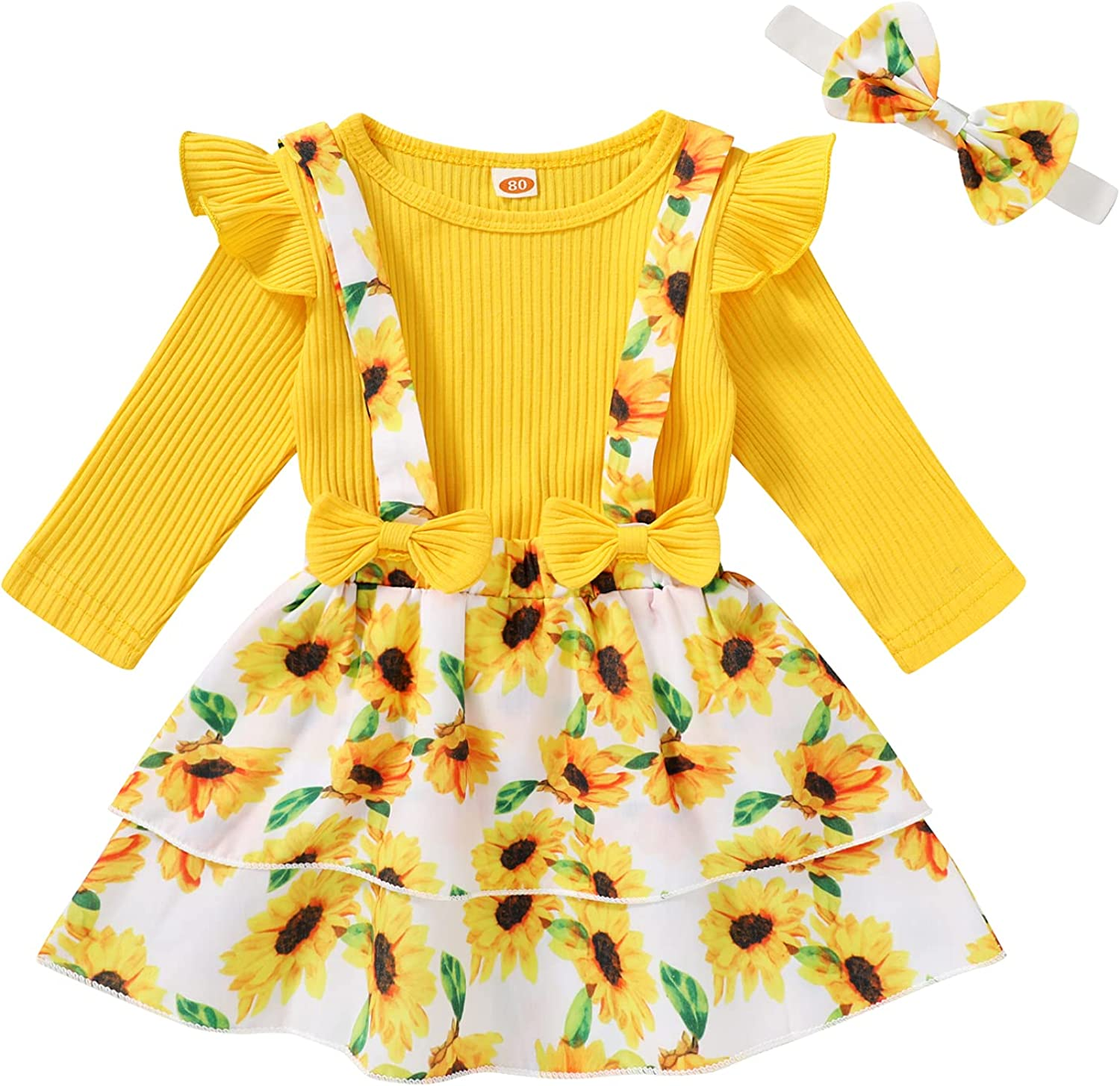 Toddler Baby Girl Outfits 3Pcs Long Sleeve Ruffle Floral Skirt Set Fall Winter Clothes 1-4T