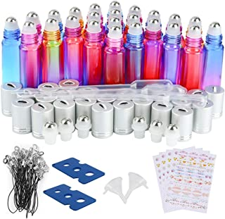 Essential Oil Roller Bottle, 24 Pack 10ml Gradient Color Glass Roller Bottle with Stainless Steel Roller Balls and Silver hanging Lids(3 Dropper,2 Funnel,6 Extra Roller Ball,108 label,2 Opener)