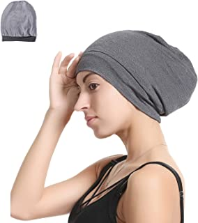 Premium Satin Silk Lined Sleep Cap Beanie Slap Hat – Bamboo Outer