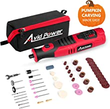 Avid Power Cordless Rotary Tool 8V Li-ion with 2.0 Ah Battery, 5-Speed, 4 Front LED Lights and 60pcs Accessories Kit for Carving, Engraving, Sanding, Polishing and Cutting