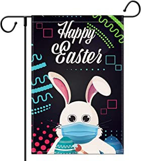 LucaSng Happy Easter Garden Flag, Double Sided Cute Bunny Wearing Mask, Vertical Burlap House Flags, Spring Holiday Yard O...