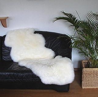 HEITMANN australische Doppel Lammfelle aus 2 Fellen naturweiß, voll waschbar, ca. 175x63 cm