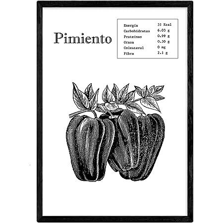Nacnic Poster de Pimiento. Láminas de frutas y verduras. Tamaño A4 con marco