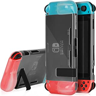 Fosmon Clear Translucent TPU Protective Case Compatible with Nintendo Switch Console and Joy Cons (Switch Stand Compatible) - Translucent White