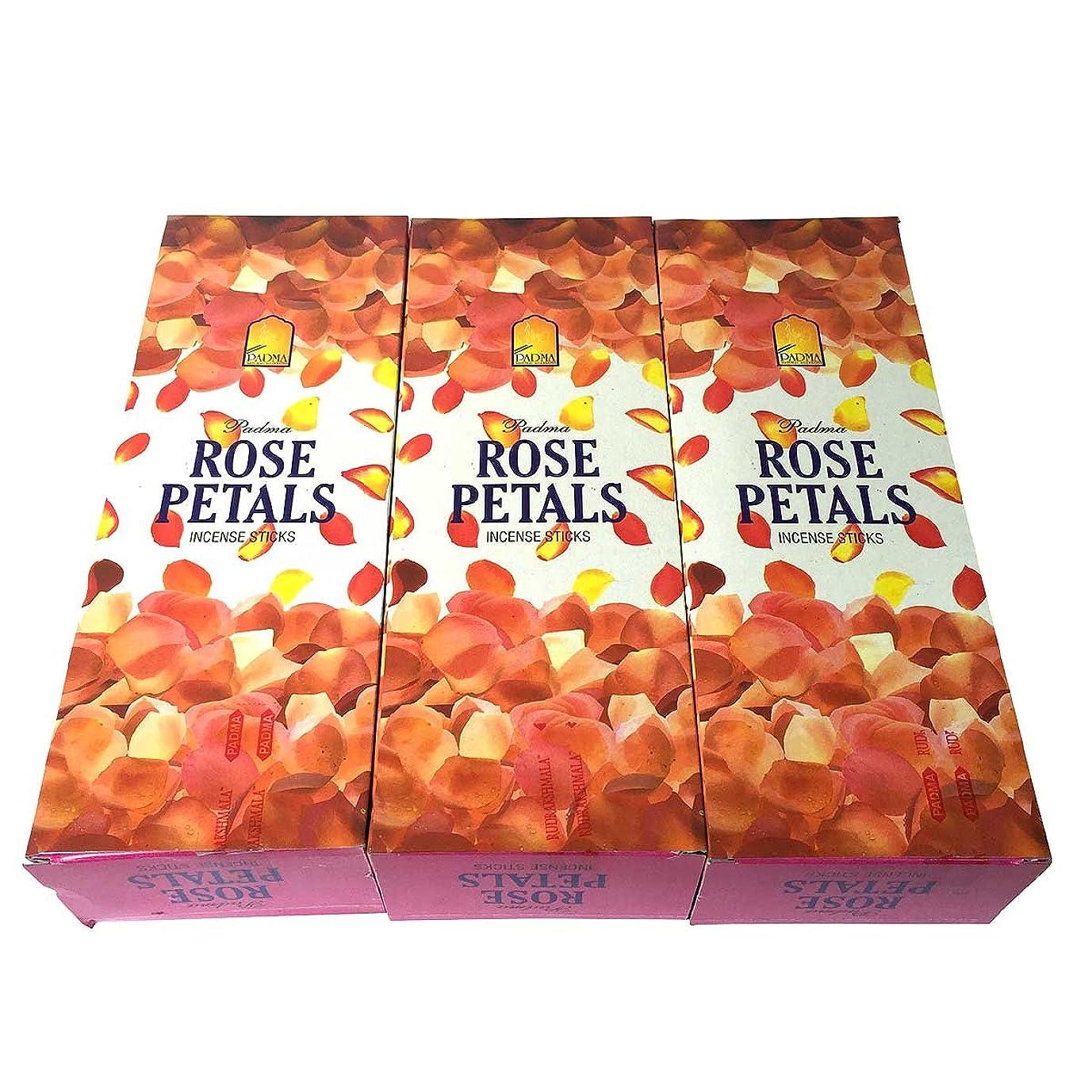悲観的作詞家毎月ローズペタル香スティック 3BOX(18箱) /PADMA ROSE PETALS/インセンス/インド香 お香 [並行輸入品]