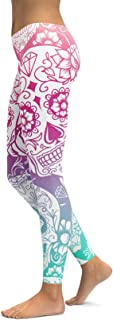 Rookay Skull Printed Leggings for Women Ankle Pants for Women Tummy Control Running Yoga Compression Tights