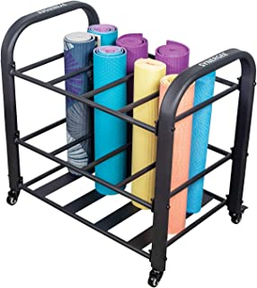 Synergee Yoga Mat Storage Rack – Storage Cart for Yoga Mats,  Foam Rollers & Mobility Equipment. Perfect for Yoga Studio or Commercial Gym.