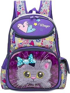 Cute Cat Face Printing Backpack Waterproof Princess School Bag Kids Bookbag for Primary Girls