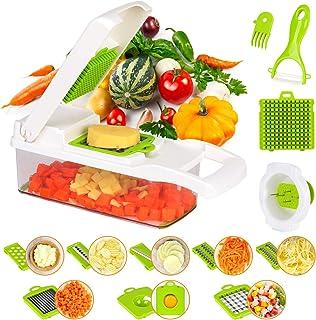 KATELUO 15 en 1 Cortador de Verdura Mandolina Multifuncional, Utensilios de Cocina Profesional Rallador de Verdura Corte de Vegetales Cuchillo de Inoxidable, Pelador, Apto para Frutas y Verduras