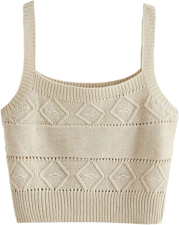 SweatyRocks Women's Sleeveless Solid Knit Straps Crop Tank Tops
