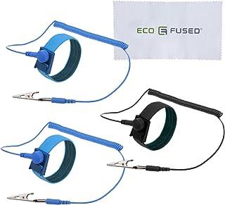 Pulseras Antiestaticas - 3 Pack – Antiestaticos reutilizables pulseras equipadas con conexión a tierra Alambre y PIenzas cocodrilo – Permite que para conectarse a tierra mientras se trabaja en equipos electrónicos sensibles. (3 Pack, 2x Azul + 1x Negro)