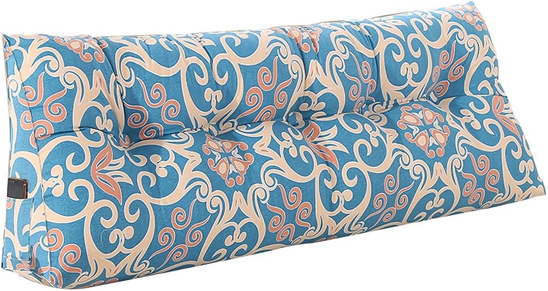 Oreillers Coussin Lit Double Soft Case Bleu Triangle Lavable Coussin Lombaire Bleu Coton PP Durable et Durable Coussins lombaires (Taille   100  50  20cm)