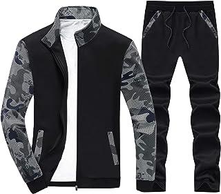 Men's Tracksuit Camo Print Full Zip Jogging Sweatsuits Athletic Active Sports Set with Zipper Pockets