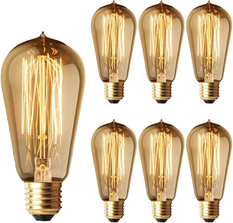 OFFicial shop ST58 Dimmable 40W Edison Light Bulbs Pack Vintage Manufacturer regenerated product Bul 6 Filament