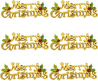 Azude Gold Merry Christmas Tree Wreath Decorations Accessories Hanging Ornaments, 6 pcs